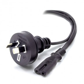 Aus 2 Pin Mains Plug to IEC C7 - Male to Female - 1m
