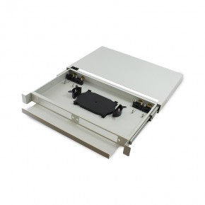 Series Alpha 1RU Fibre Sliding Patch Panel With Splice Cassette, Splice Protector & Mounting Kit