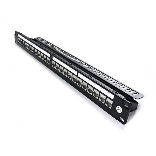 Serveredge 24 Port Patch Panel 1RU, UTP Shielded and Serveredge Universal Cat6A, STP, RJ45 Modular Keystone Jack KIT