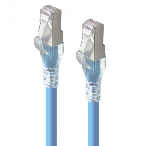 0.3m Blue 10GbE Shielded CAT6A LSZH Network Cable