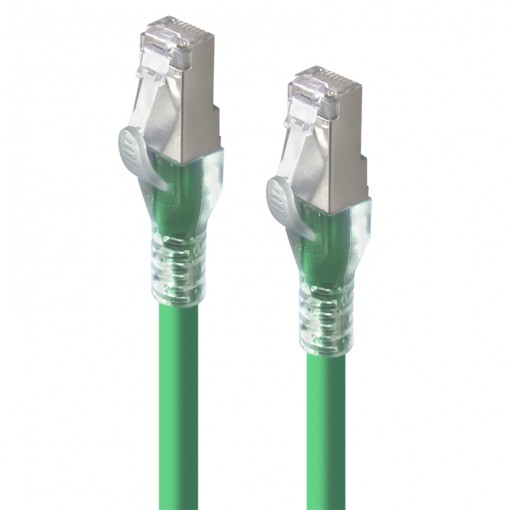 1m Green 10GbE Shielded CAT6A LSZH Network Cable