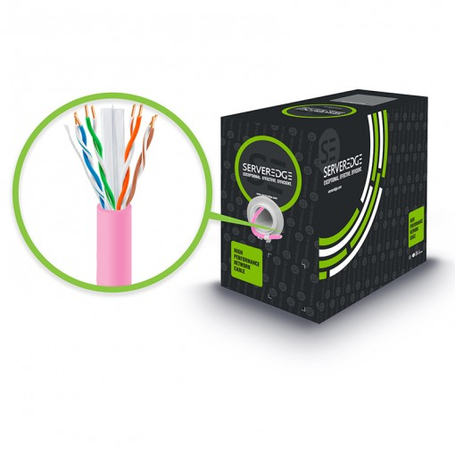 305m 23AWG Pink PVC Solid CAT6 Network Cable - U-UTP / 4 Pair
