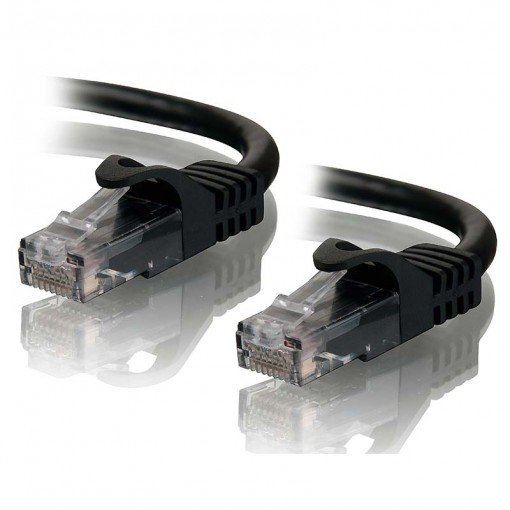 1m Black CAT5e Network Cable