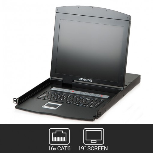 "19"" LCD CAT6 KVM Console Rack Drawer - 16 Port CAT6 KVM USB/PS2/VGA With Optional IP Access"