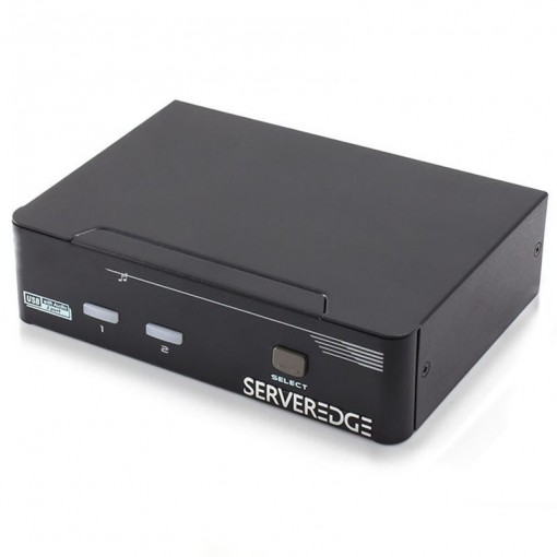 Serveredge 2-Port Dual Monitors DVI USB KVM Switch with Audio & Mic & USB Hub2.0 - Includes Cables