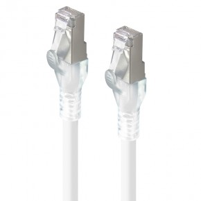 0.3m White 10GbE Shielded CAT6A LSZH Network Cable