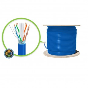 305m Blue CAT6A Shielded Network Cable - FUTP, Solid, LSZH 23AWG