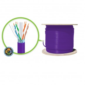 305m Purple CAT6A Shielded Network Cable - FUTP, Solid, LSZH 23AWG