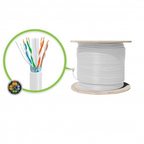 305m White CAT6A Shielded Network Cable - FUTP, Solid, LSZH 23AWG