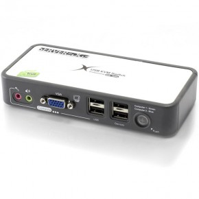 Serveredge 2-Port USB / VGA Desktop KVM Switch With Audio & USB Hub2.0 - Includes Cables