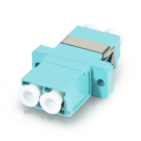LC Female to LC Female Multi mode Duplex OM4 Fibre Adaptor - AQUA COLOR