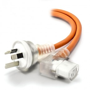 2m Medical Power Cable Aus 3 Pin Mains Plug (Male) to Right Angle IEC C13 (Female) - Orange
