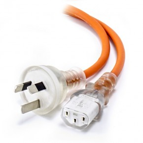 2m Medical Power Cable Aus 3 Pin Mains Plug (Male) to IEC C13 (Female) - Orange