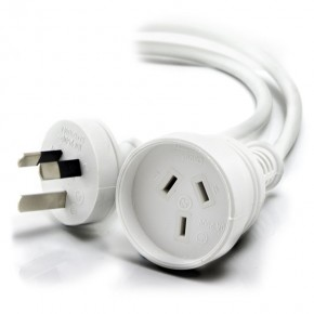 Aus 3 Pin Mains Power Extension Cable WHITE - Male to Female - 20m