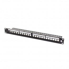Serveredge 24 Port Unloaded Patch Panel Frame 1RU, UTP Shielded - Includes Cable Management Bar