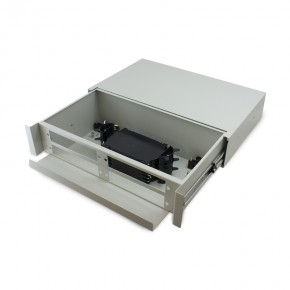 2RU Unloaded Fibre Optic Sliding Patch Panel includes a Sliding Fobot with a Splice Cassette & Splice protector