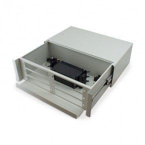 3RU Unloaded Fibre Optic Sliding Patch Panel includes a Sliding Fobot with a Splice Cassette & Splice protector
