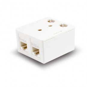 Serveredge 2 Way CAT6 Surface Mount Box with Keystone Jack - White