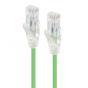 0.30m Green Ultra Slim Cat6 Network Cable, UTP, 28AWG