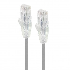 0.30m Grey Ultra Slim Cat6 Network Cable, UTP, 28AWG