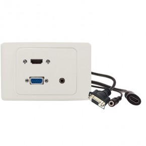1 X HDMI 1 X VGA & 1 X 3.5mm Audio Clipsal 2000 White Wall Plate with Panel Mount Cables