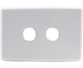 2 Gang Wall Plate - Clipsal Compatible (White)