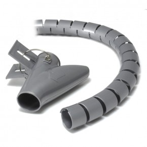 Ty-It 10m Zip Cable Wrap with Clip Tool Organiser - 20mm/Grey